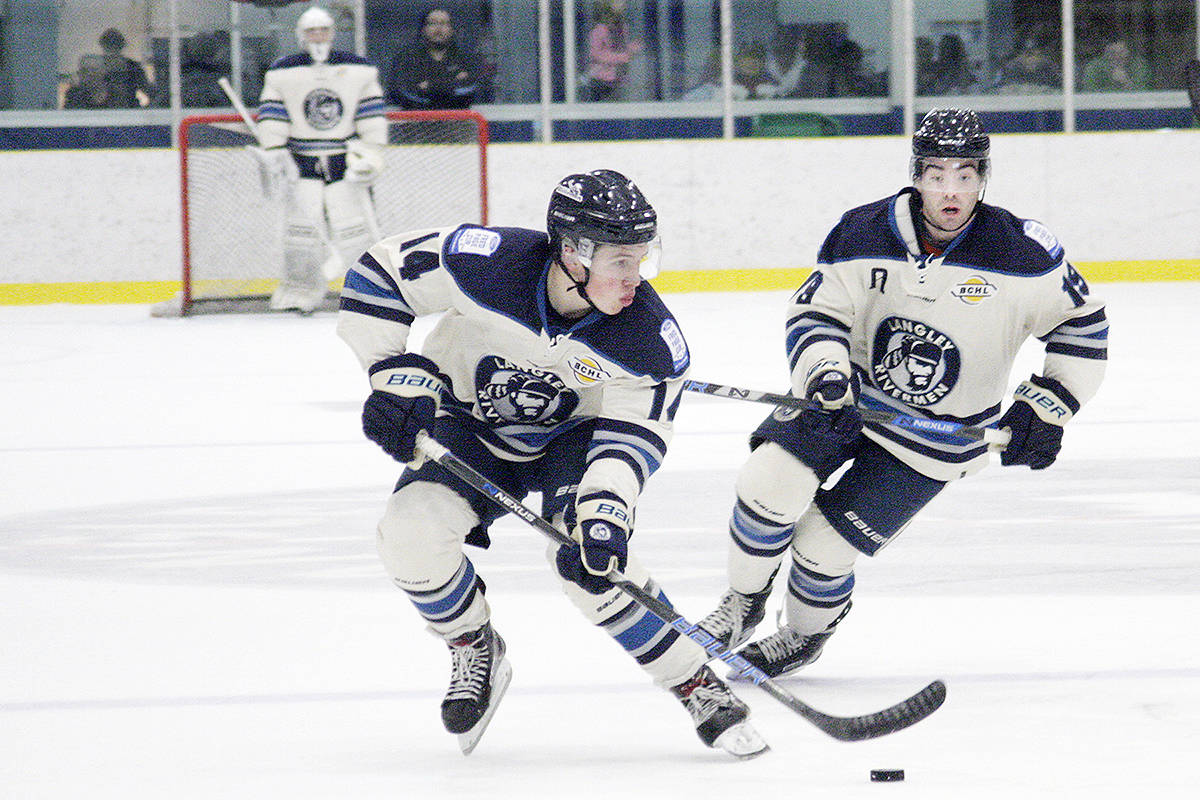 Langley Rivermen forward Ethan Leyh scored twice on Thursday night but his team fell 5-4 to the visiting Surrey Eagles. Dan Ferguson Langley Times file photo