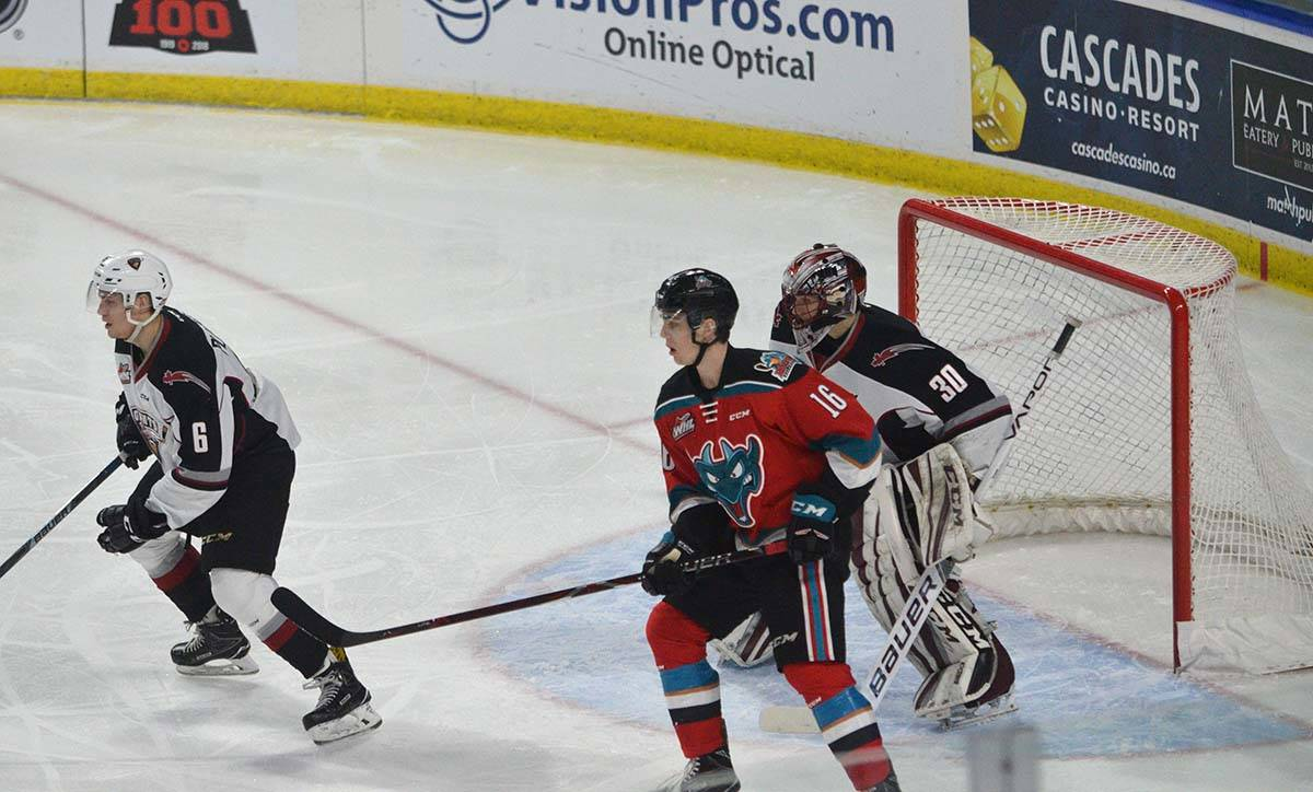 Kelowna Rockets vs Vancouver Giants, WHL at Langley Events Centre, Jan. 13 Kelowna's Kole Lind and Vancouver's David Tendeck. Gary Ahuja Langley Times