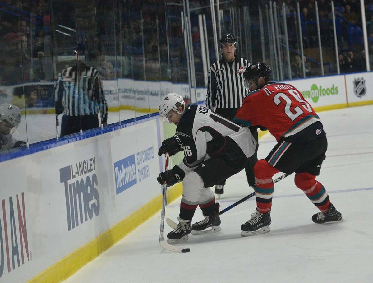 Kelowna Rockets vs Vancouver Giants, WHL at Langley Events Centre, Jan. 13 Vancouver Giants' Davis Koch slips past the check of Kelowna's Nolan Foote. Gary Ahuja Langley Times