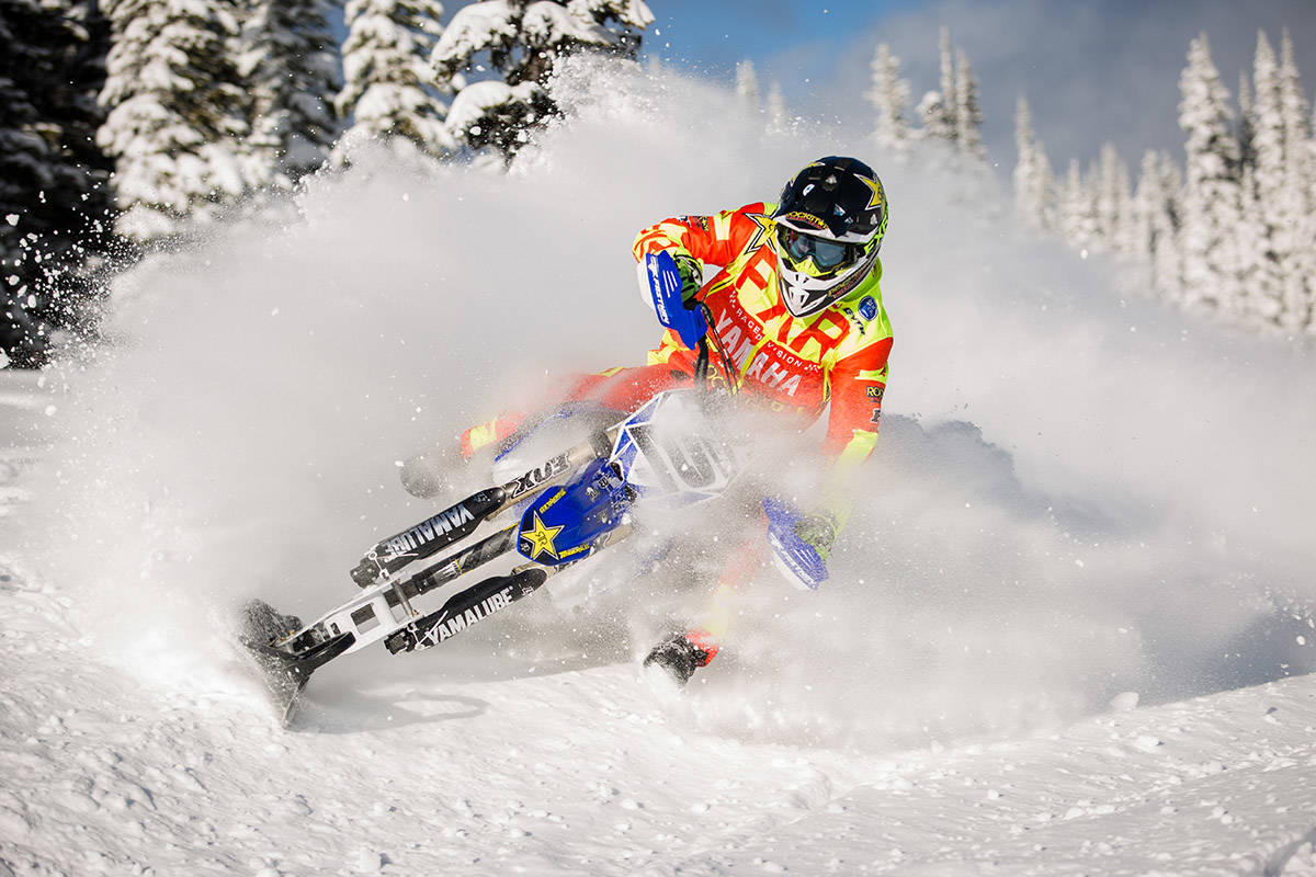 Brock Hoyer of Williams Lake trains at Yank's Peak in the Cariboo in preparation to defend his gold-medal win from last year at the 2018 Winter X Games in Aspen, CO. (Cary Olson photography)