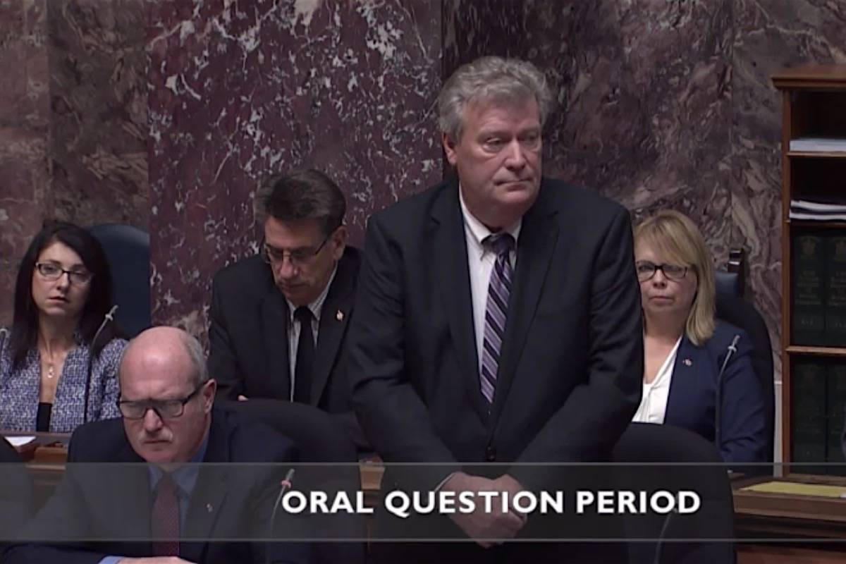 Langley East MLA Rich Coleman served as interim B.C. Liberal leader after Christy Clark resigned. He has endorsed Abbotsford West MLA Mike de Jong (left) to be the next party leader. (Hansard TV)