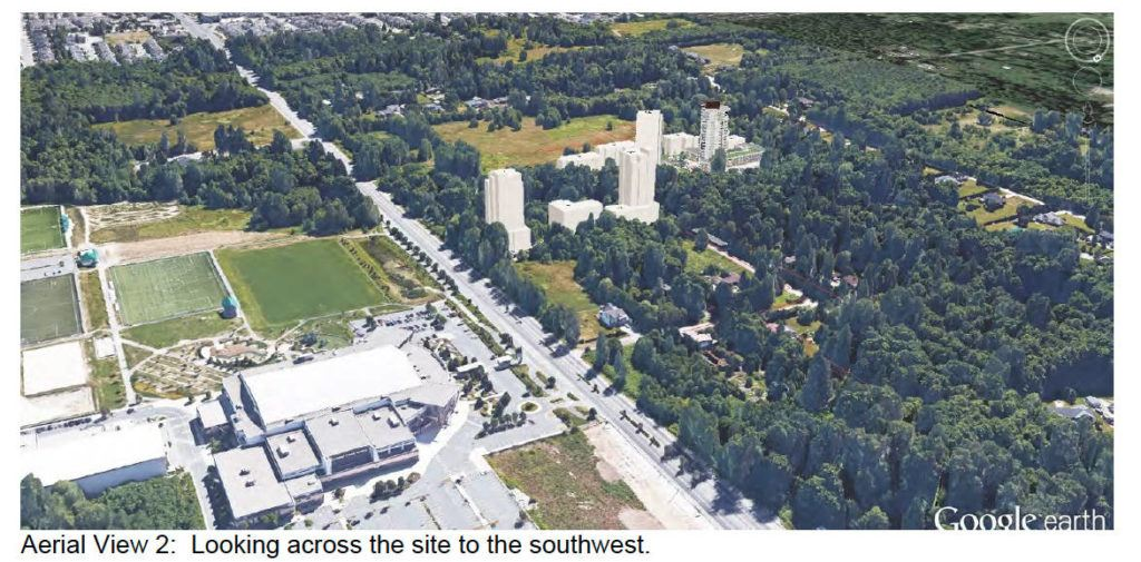 An artist rendering shows the 20-storey Oasis tower in relation to the Langley Events Centre. Supplied image