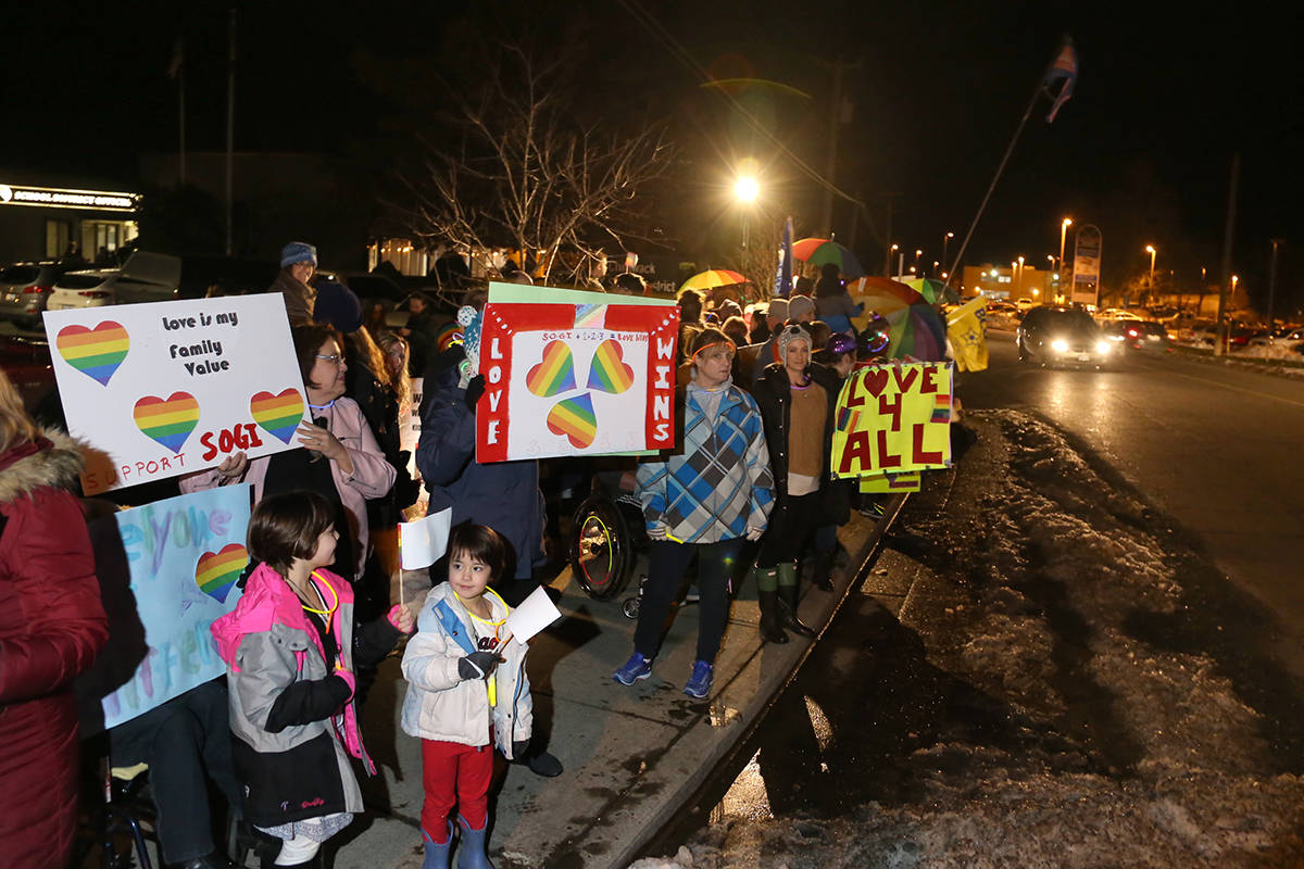 SOGI rally disrupts school board meeting, but business carries on