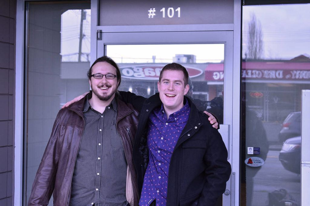 Jake Yaciw (left) and Brandon Chreptyk (right) will soon be opening their second card game store in Cloverdale, at #101 5660 176a Street. (Grace Kennedy photo)