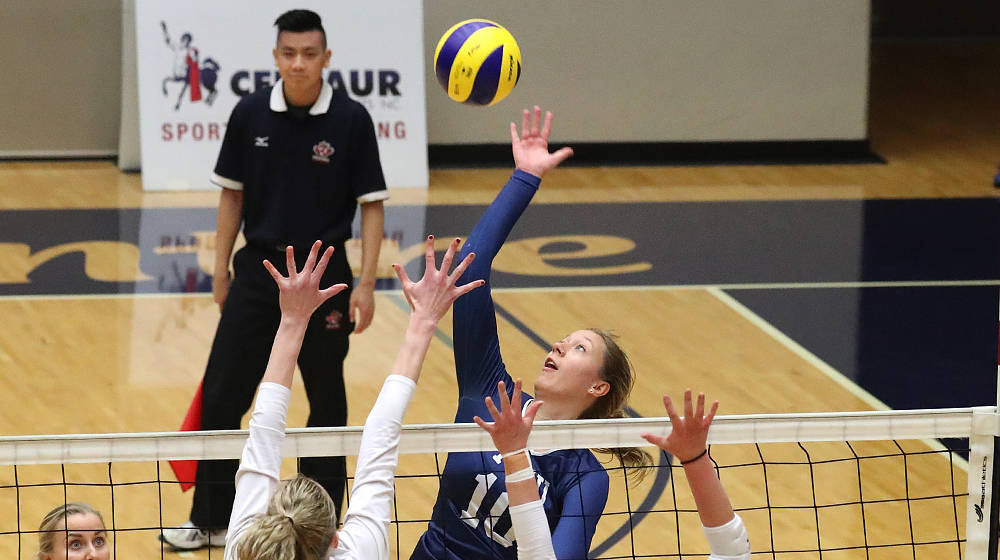 TWU's Micaylee Pucilowski and her Spartan teammates split a pair of weekend matches against the Regina Cougars. Scott Stewart TWU Athletics