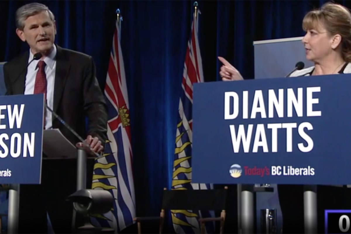 BC Liberal Party leadership candidate Dianne Watts argues with rival Andrew Wilkinson in televised debate, Tuesday, Jan. 23, 2018. (Global BC)