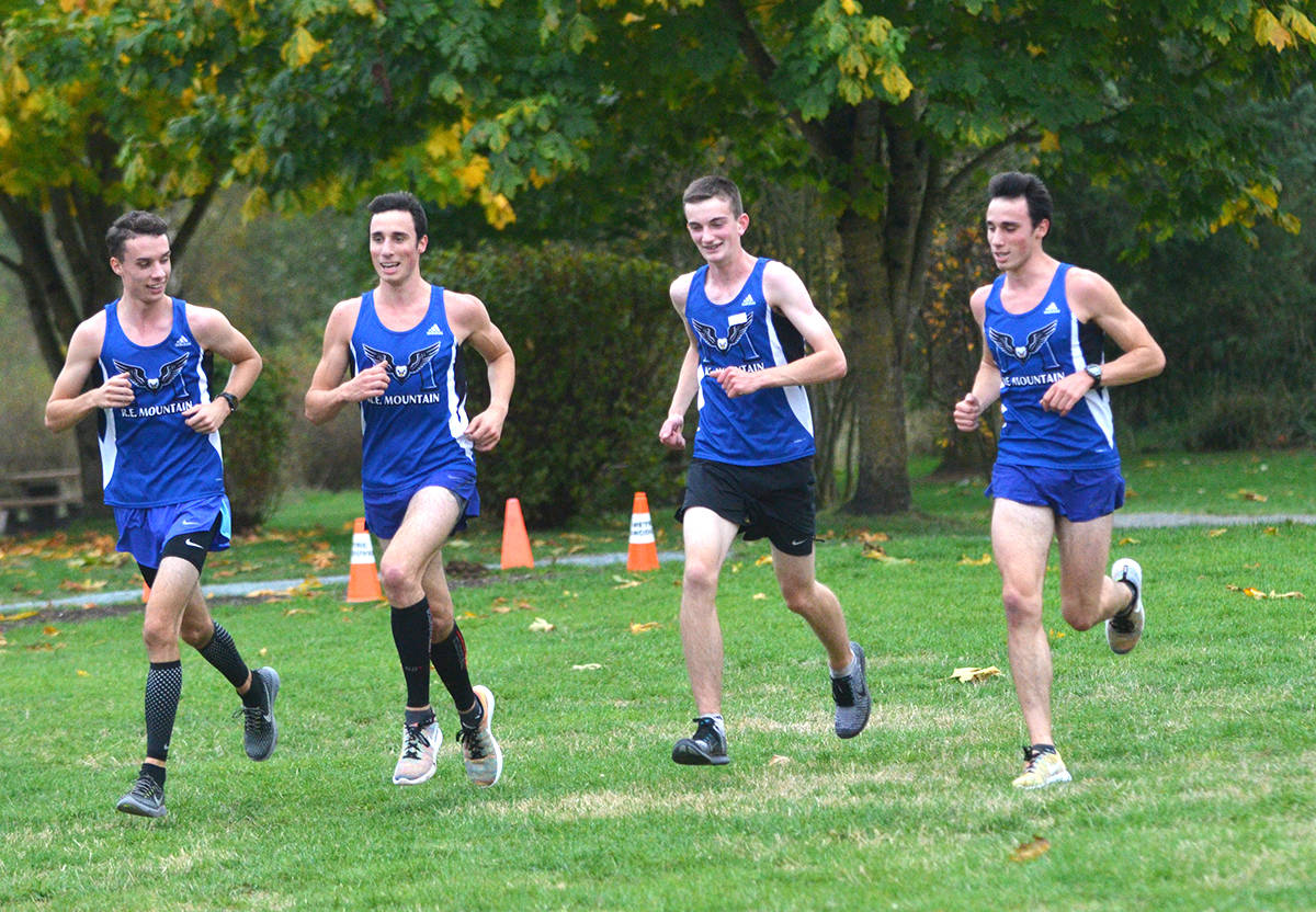 Jordan Schmidt (far left) will continue his running career with the SFU Clan in the fall. Gary Ahuja Langley Times file photo