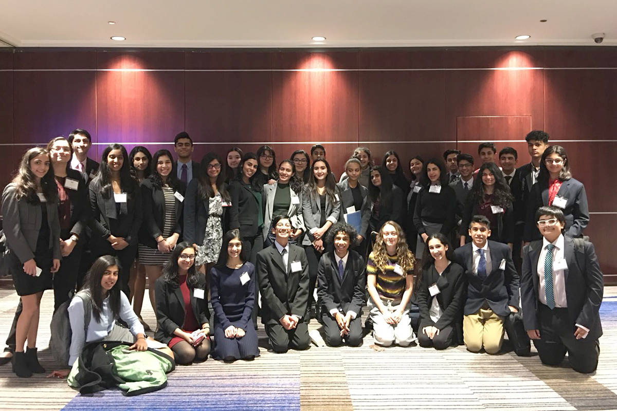 Nurain Lakhani, pictured in the far right of the front row, at the 2018 VMUN conference. (Contributed)