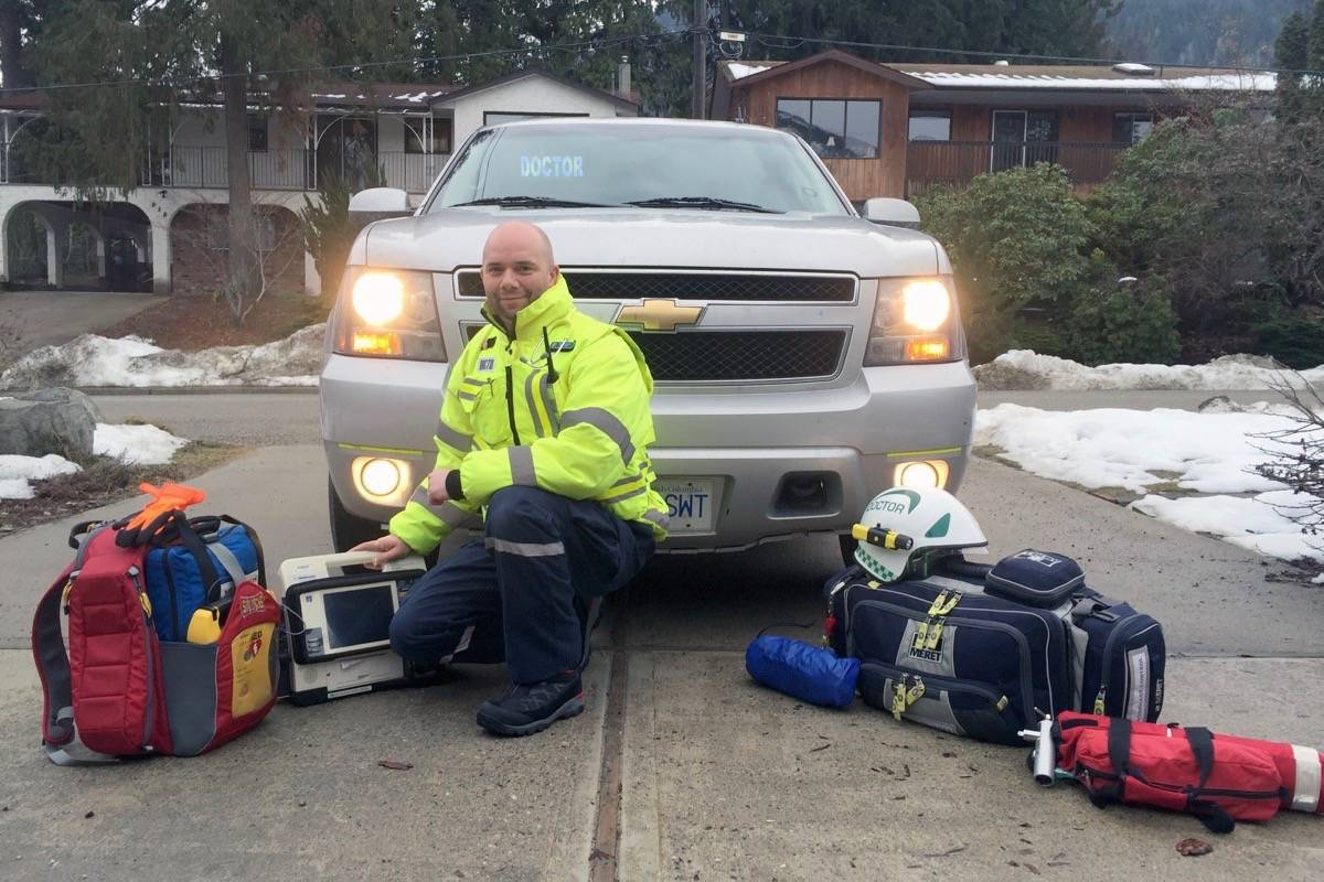 Dr. Nic Sparrow volunteers his time assisting emergency services at some of the most serious 911 calls in the West Kootenay. (Submitted photo)