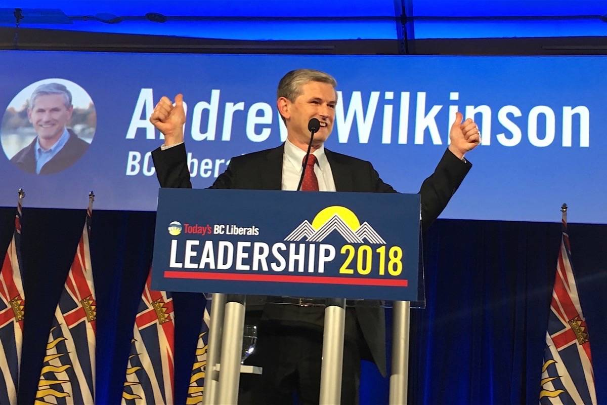 Vancouver-Quilchena MLA Andrew Wilkinson calls for party unity as he is declared the new B.C. Liberal leader. (Ashley Wadwhani/Black Press)