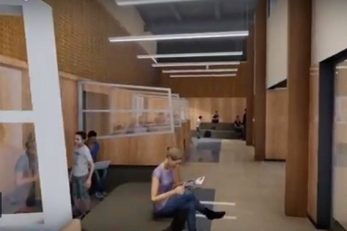 This is a clip from the virtual walk through of what will be the new Langley Secondary once it is complete in 2020. The new design features lots of open space learning.
