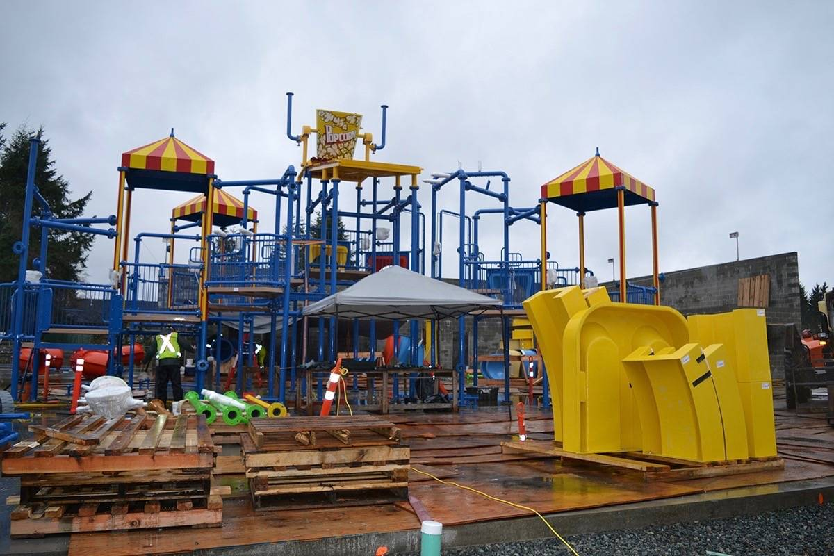 This is the multi-level circus-themed aquaplay structure with a big popcorn bowl acting as a water bucket at the top. The interactive water playground is just one of many features which include waterslides and a lazy river at the Otter Co-Op Outdoor Experience water park being built in Aldergrove. The huge water park is set to open Canada Day long weekend. Monique Tamminga Langley Times