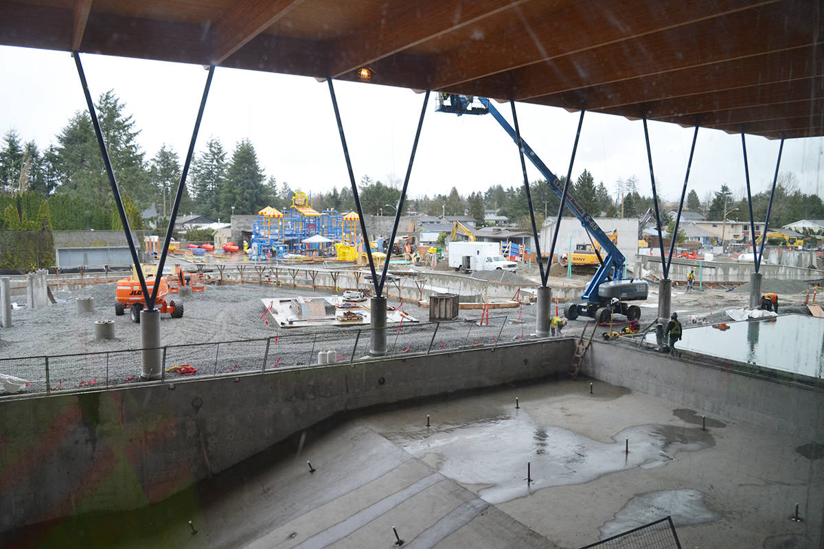 View of the covered 25-metre six lane competition pool, leisure pool and then onto where the waterslides will be, the lazy river and the waterpark in behind. Monique Tamminga Langley Times