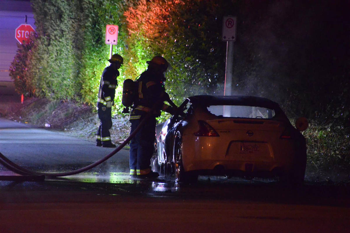 A torched vehicle was found not far from the scene of a fatal shooting in the 8200 block of 204B St Friday night. Curtis Kreklau, South Fraser News Services