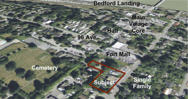 This map shows where the new Lilly Terrace will go in Fort Langley. Map supplied by Lanstone