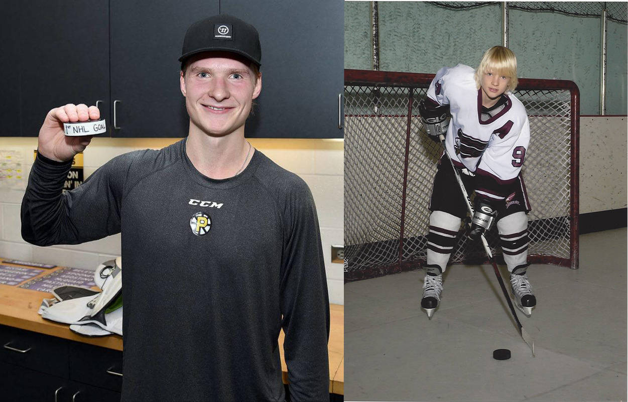 Left: Boston Bruins winger Danton Heinen celebrates his first NHL goal against the San Jose Sharks at the TD Garden. The Langley resident netted the goal Oct. 26 in Boston. (Steve Babineau/NHL via Getty Images). Right: Heinen back in his Langley Minor Hockey days (photo courtesy of Heinen family)