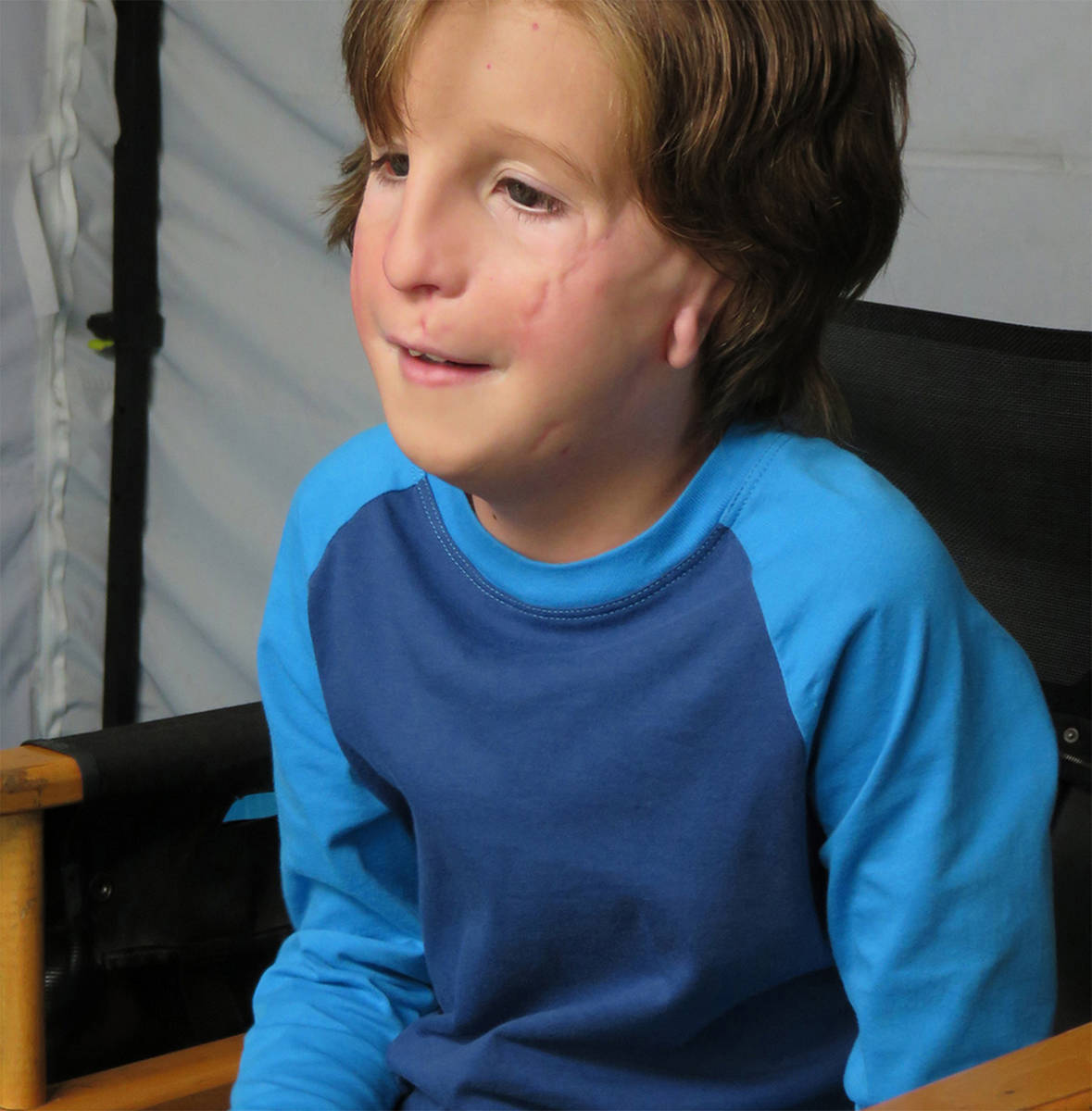Jacob Tremblay in makeup for the movie Wonder. Courtesy Lions Gate Entertainment