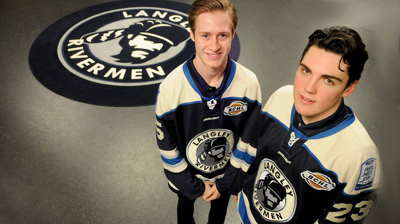 The Langley Rivermen including right winger Daneel Lategan (left) and defenceman Jake Livingstone are inviting the public to join them on Wednesday night (Feb. 21) from 6:30 to 8 p.m., when they will be painting anti-bullying messages on the ice surface of their home rink, the George Preston Recreation Centre in Brookswood. Troy Landreville Langley Times