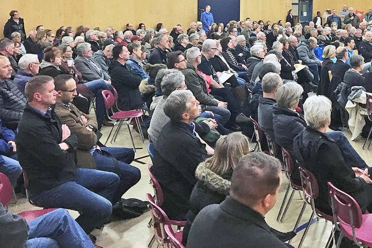 About 300 people attended a forum at Credo Christian elementary to protest a Fraser Health edict that allows medically assisted dying in hospices. On Wednesday, Langley Hospice Society Board of Directors issued a formal statement, opposing the policy.                                Photo supplied