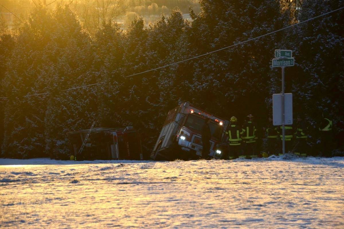 Two Langley fire trucks collide on black ice