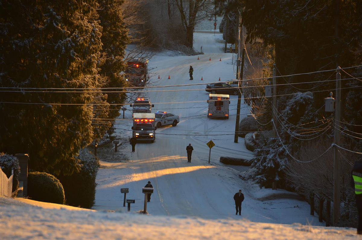 Multiple vehicles crashed on this icy hill including two fire trucks trying to aid the original vehicles. Curtis Kreklau photo