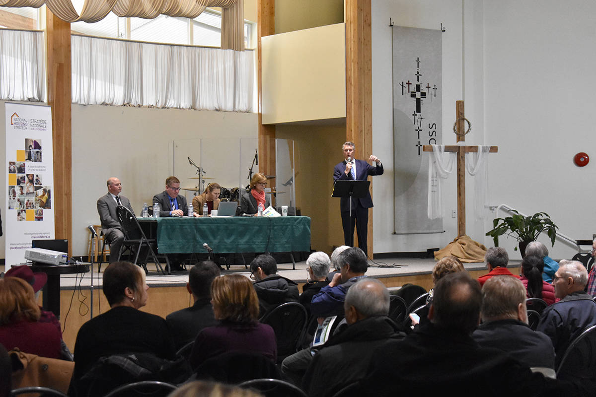 Cloverdale-Langley City MP John Aldag moderated Wednesday afternoon's town hall on affordable senior housing. Seated at the table, from left: Andrew Middleton, Mike Clay, Naomi Brunemeyer and Isobel McKenzie. (Samantha Anderson)