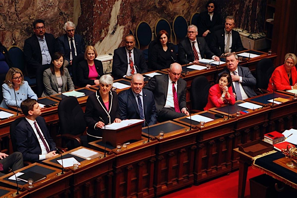 Finance Minister Carole James delivers her first budget in the B.C. legislature, Feb. 20, 2018. (Chad Hipolito/The Canadian Press/pool)