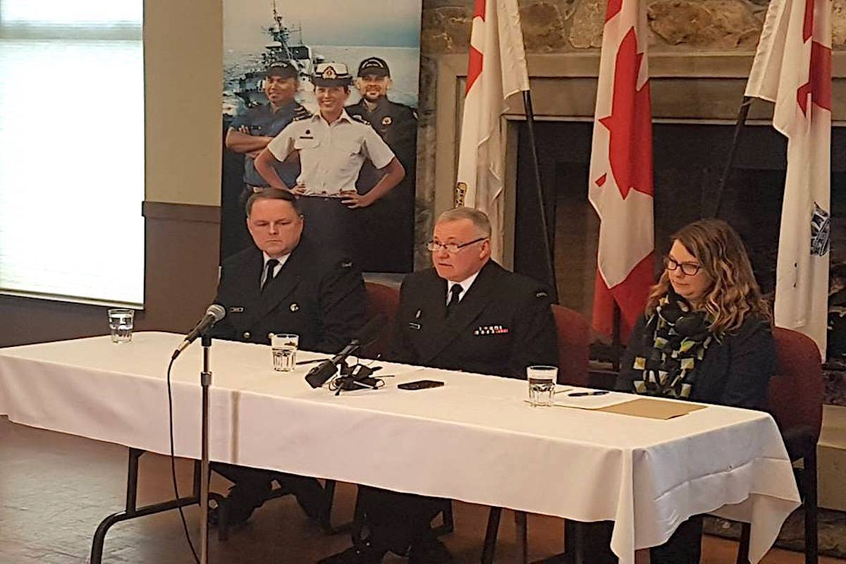 Commodore Buck Zwick, Commander of the Pacific Fleet of the Royal Canadian Navy, addressed the media on Sunday at CFB Esquimalt. (Facebook/Maritime Forces Pacific)