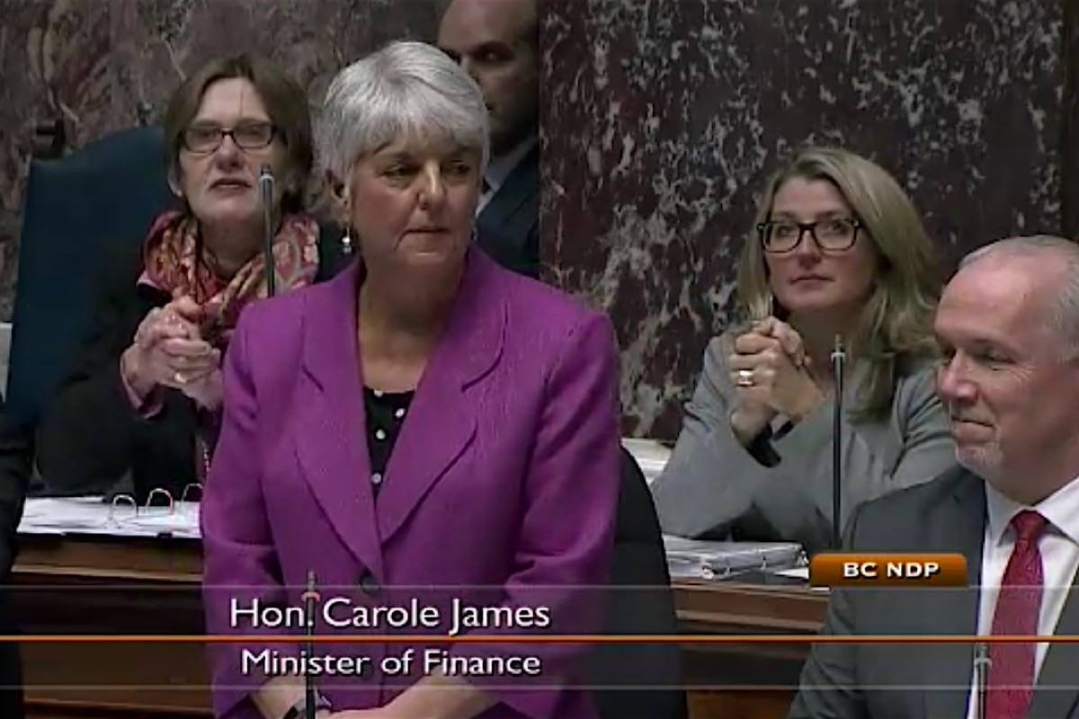 Finance Minister Carole James takes questions in the B.C. legislature, Feb. 26, 2018. (Hansard TV)