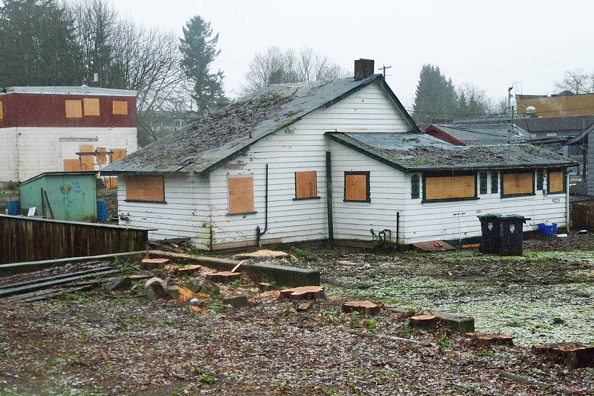 Buildings on this Fort Langley site have been boarded up and all the trees have been removed. Dan Ferguson Langley Times
