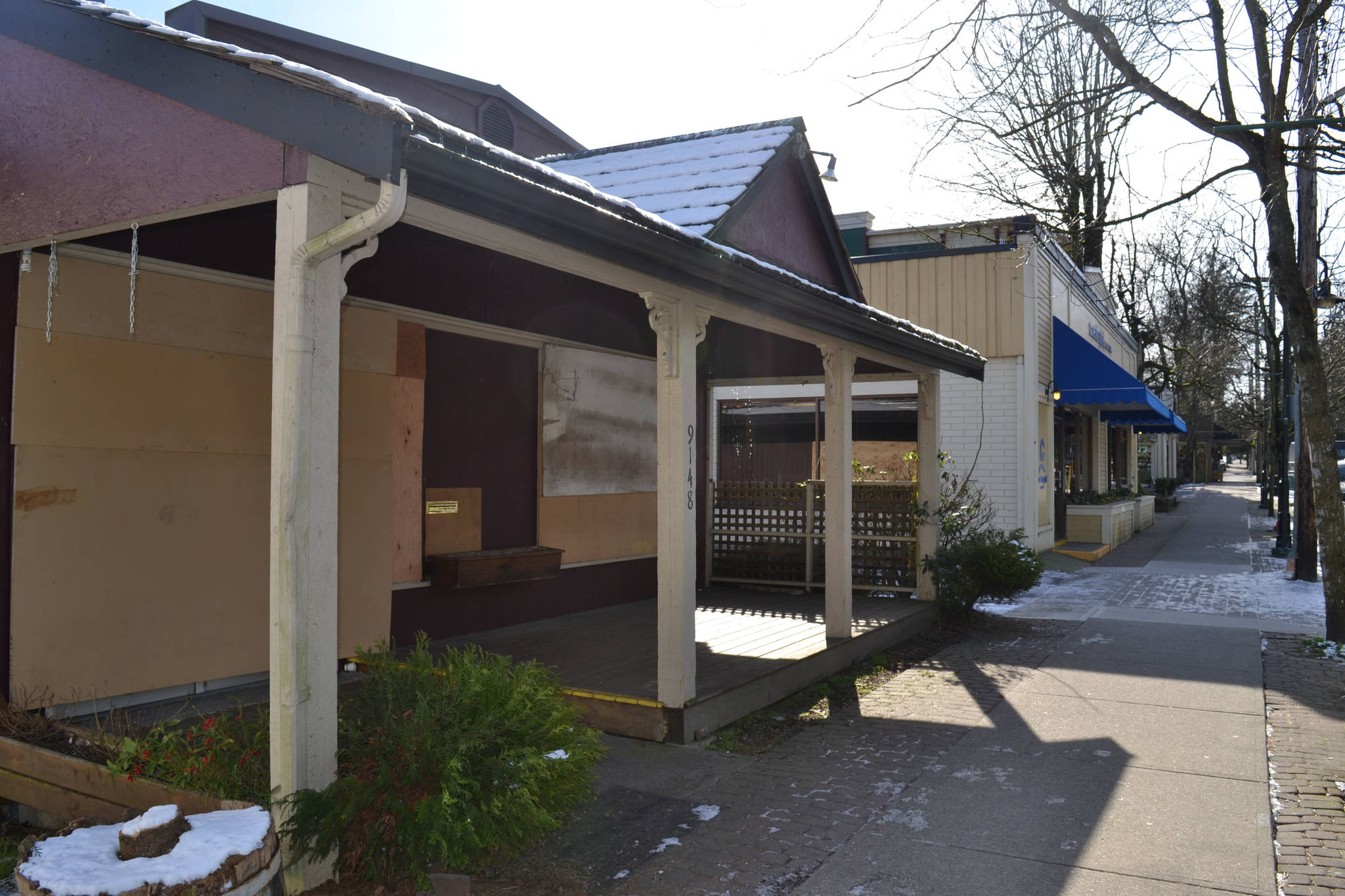 The iconic Jim's Pizza was a staple on Glover Road for 32 years. It along with the neighbouring building are now boarded up across from the Fort Hall. Monique Tamminga Langley Times