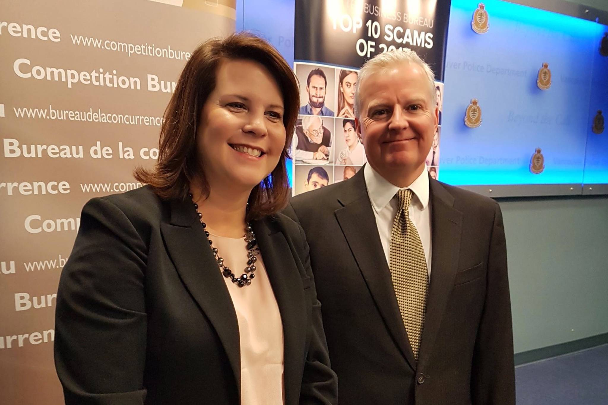 BBB serving Mainland BC President Danielle Primrose and Victor Hammill with the Competition Bureau of Canada speaking at National Top 10 Scams. (CompBureau/Twitter)