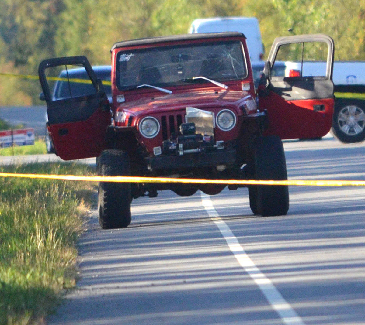 This Jeep was behind police tape when a double shooting took place in rural Langley Sept. 1. Travis MacPhail was charged with two counts of second degree murder and was in court Thursday. Gary Ahuja file photo Langley Times
