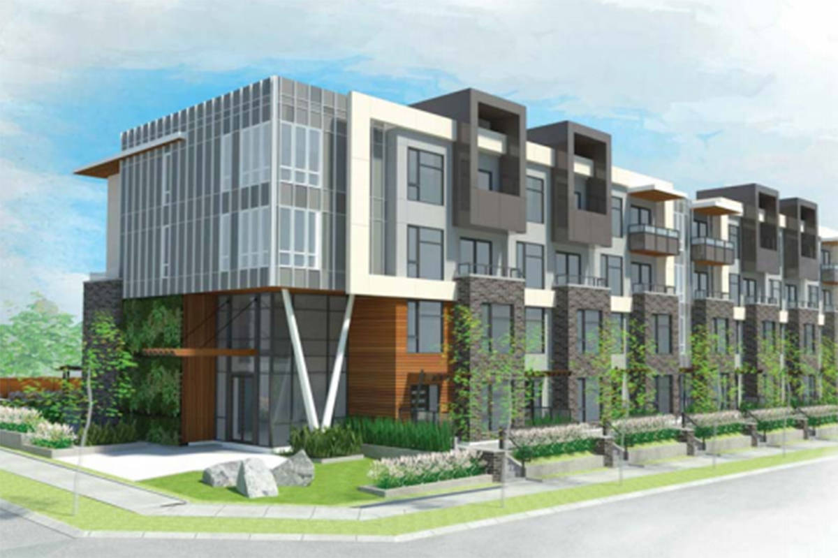 A rendering of the proposed residential development at 18493 Fraser Hwy. (DF Architecture Inc. / surrey.ca)