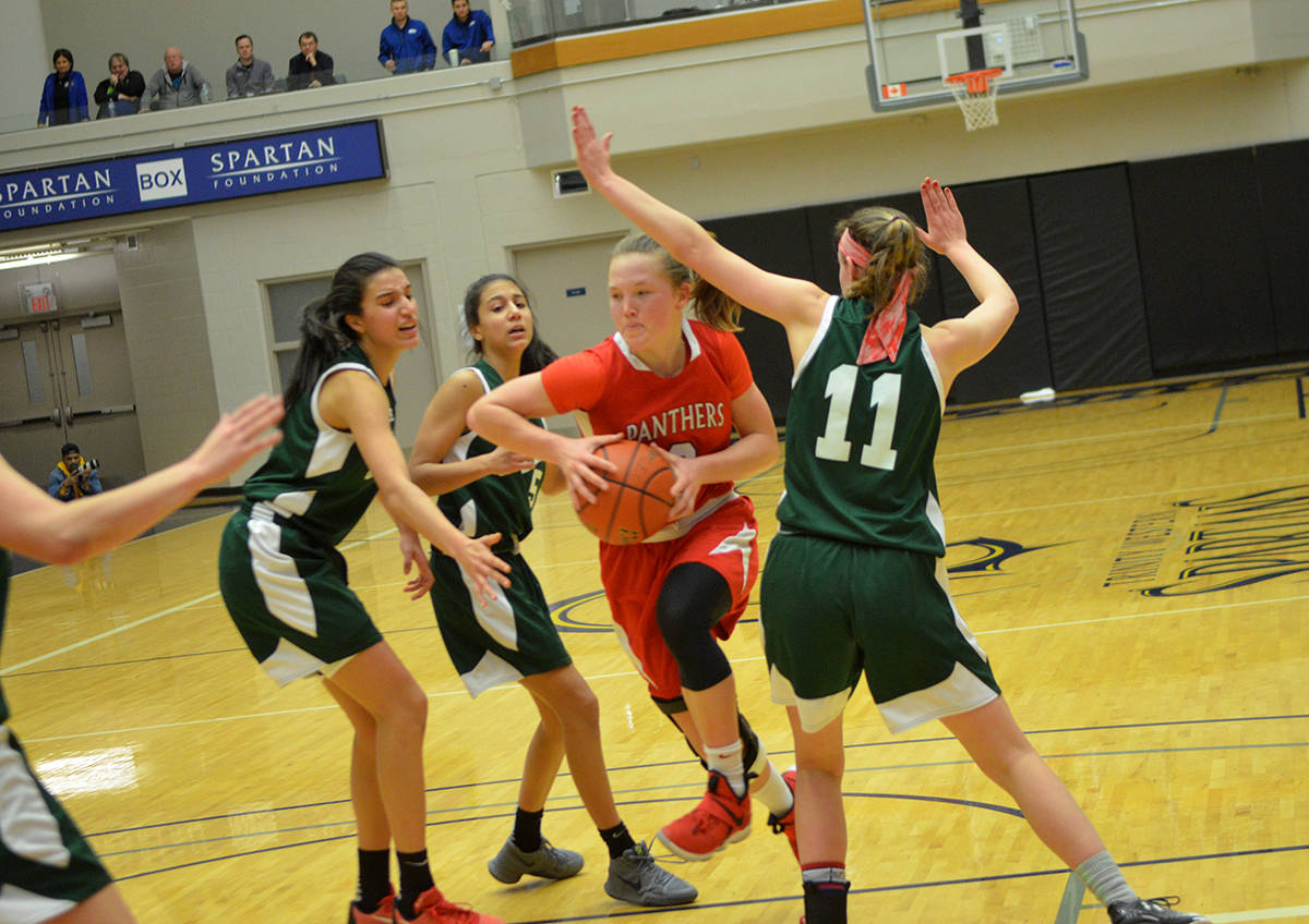 Despite extra attention from the Walnut Grove Gators defence, Abbotsford's Sienna Lenz still managed 25 points, but her team fell 88-71 in the semifinals. Gary Ahuja Langley Times