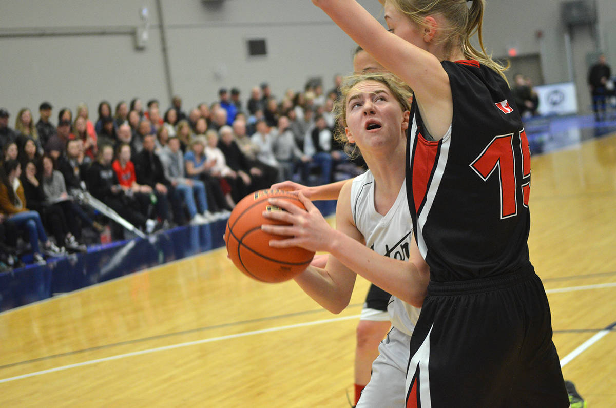 Walnut Grove Gators' Holly Harrison goes up against Mount Baker Wild's Josie Mackie during semifinal action. The Gators will play for gold after a 51-19 win at the Langley Events Centre. Gray Ahuja Langley Times