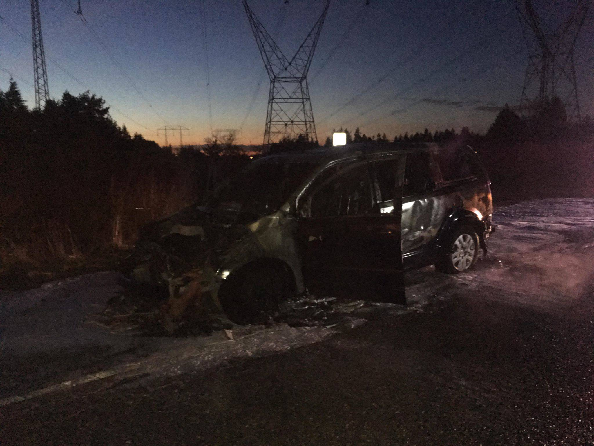 Nothing was left of the van that caught fire Tuesday. Submitted photo