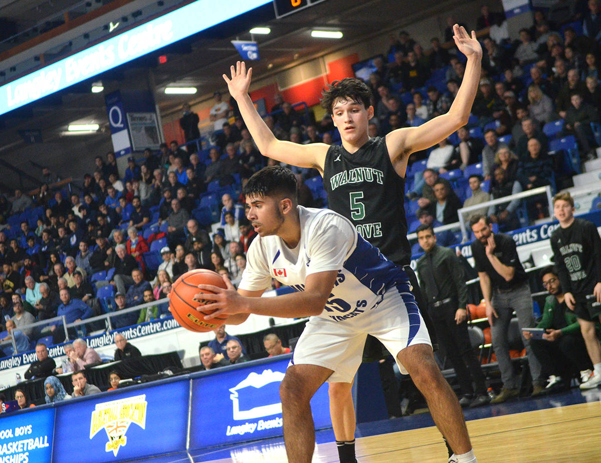 Tamanawis Wildcats' Preet Kailey grabs a rebound during his team's 63-60 win over Walnut Grove in the BC 4A boys quarter-finals at the Langley Events Centre. Gary Ahuja Langley Times