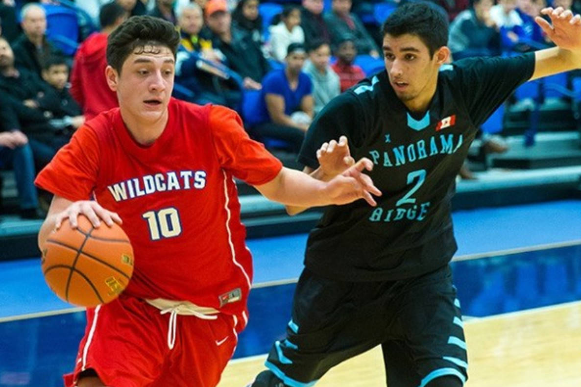 Tamanawis Wildcats' scoring ace Miguel Tomley (left) during a 2016 Surrey RCMP Basketball Classic final. (Now-Leader file photo)