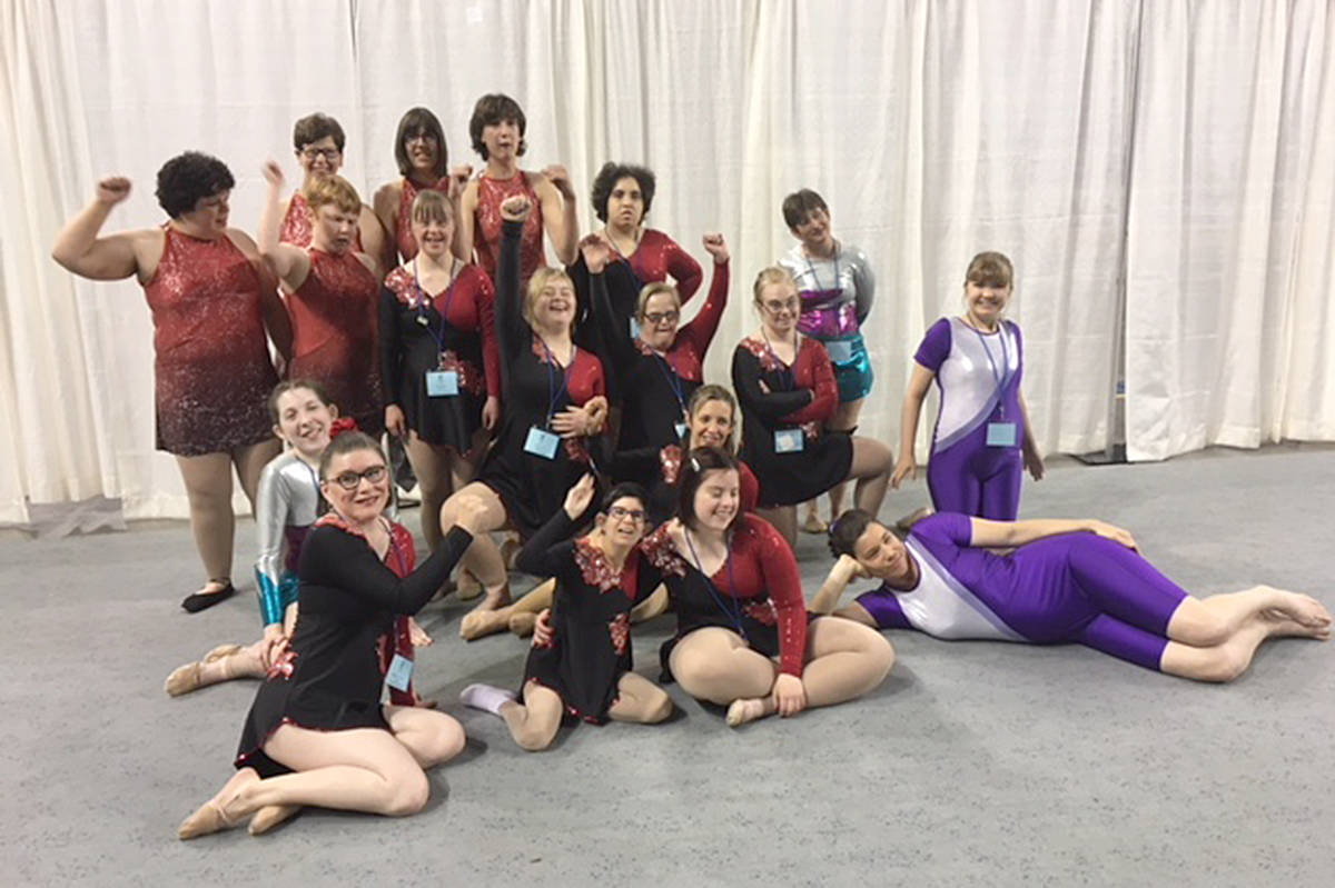 Surrey's rhythmic gymnastics team. Krista Milne stands in the second to last row, third from the left. (Contributed)