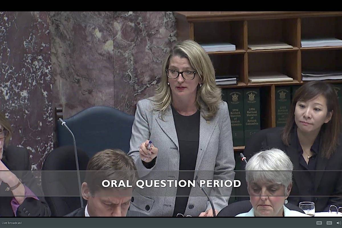 Agriculture Minister Lana Popham is questioned about a threatening letter sent to a salmon farm operator, October 2017. (Hansard TV)