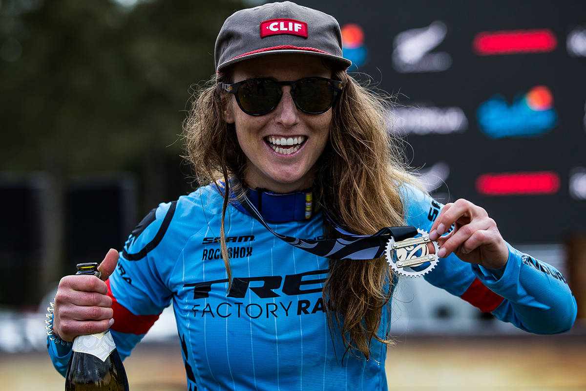 Casey Brown won the Giant Toa Enduro Pro Women's Pro event at the Crankworx Rotorua in New Zealand. (Fraser Britton/Crankworx 2018)
