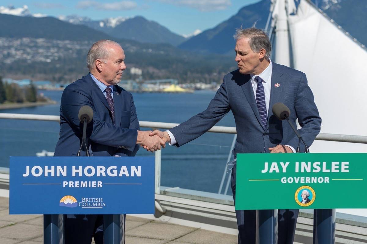 B.C. Premier John Horgan and Washington Gov. Jay Inslee meet in Vancouver, March 16, 2018. (B.C. government)