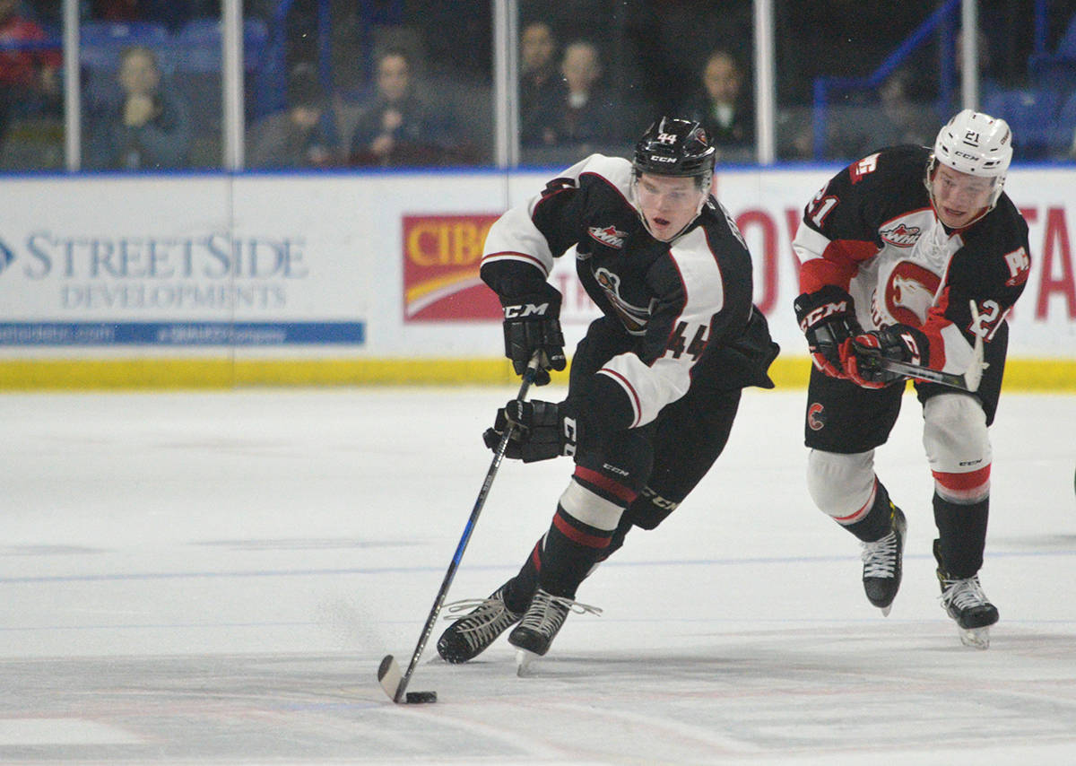 Vancouver Giants' Bowen Byram is up for WHL rookie of the year after a solid debut season on the Giants blue-line. Gary Ahuja Langley Times file photo