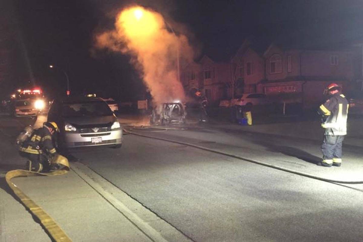 Nicole Doerksen lives nearby and managed to snap some pictures and video of a vehicle fire Tuesday morning that RCMP says is suspicious. It's the second fire at the Aldergrove neighbourhood in a month. Nicole Doerksen photo