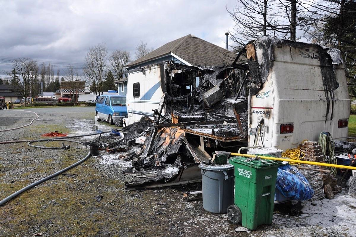 Langley RCMP are investigating a blaze that destroyed a travel trailer on Friday, March 23 at 232 Street. Submitted photo