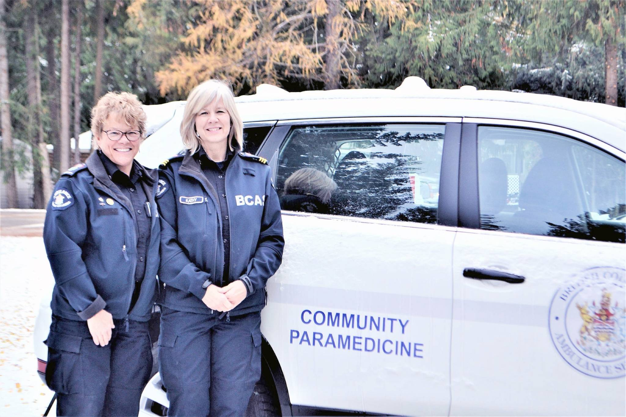 FILE — Paramedics Suzie Cameron and Kathy Crandlemire are currently training to deliver BC Emergency Health Services' (BCEHS) new community paramedicine program in Sicamous. (Black Press)