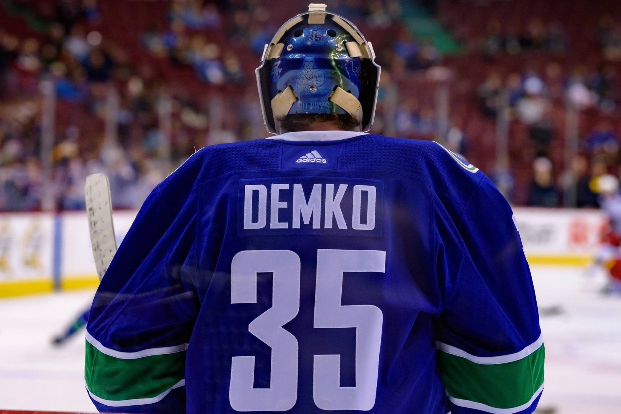 9df20a6c5e3 Star prospect Thatcher Demko backstops Canucks to win over Columbus in his  NHL debut – Langley Advance Times