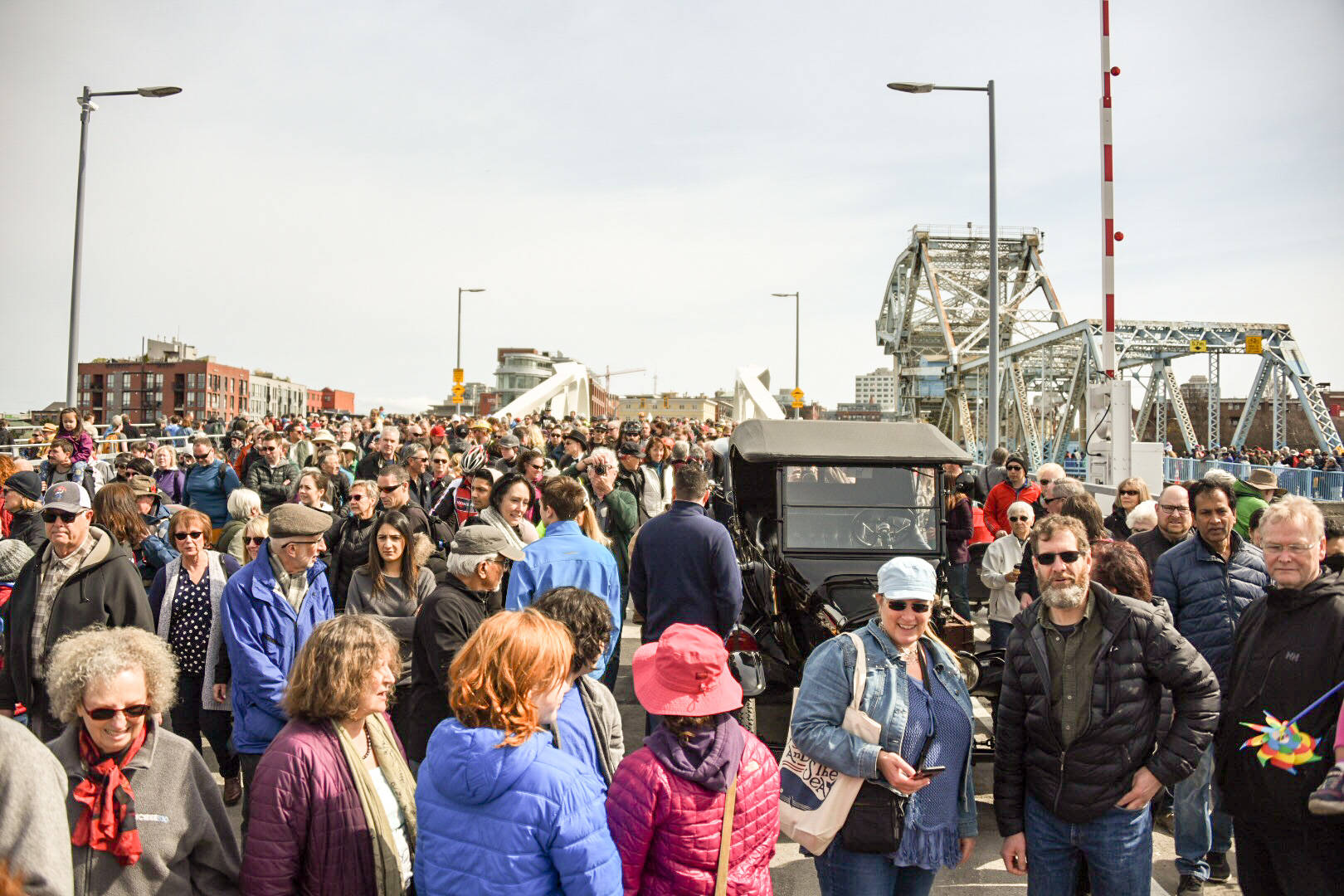 Over 500 people attended the opening of Johnson Street Bridge, the City of Victoria's biggest infrastructure project to date. Spencer Pickles/VICTORIA NEWS