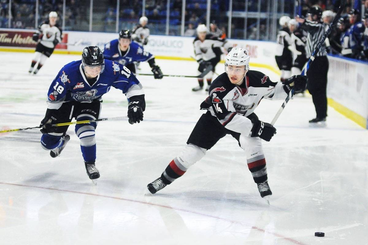 Vancouver Giants centre James Malm wound up to take a slapshot against the Victoria Royals in WHL playoff action Monday afternoon at the Langley Events Centre. The Royals won 4-3 in overtime to force a game seven Tuesday in Victoria. Troy Landreville Black Press